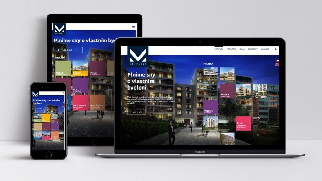 Plně responzivní web jako rozcestník pro jednotlivé projekty developera MS INVEST.